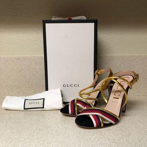 Gucci Sylvie Metallic Sandal Black Multi 41 / 11